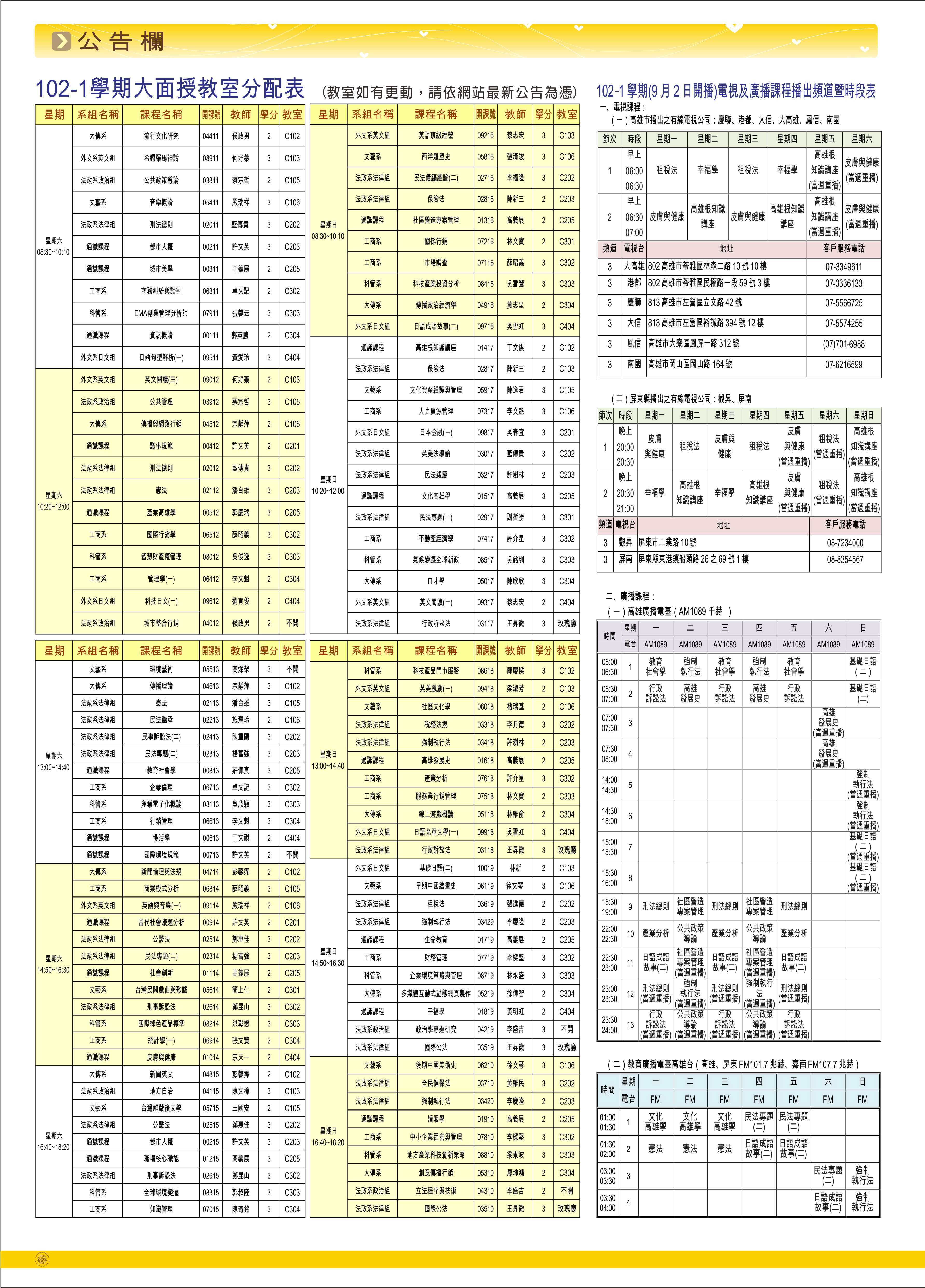 公告欄  102-1學期大面授教室分配表