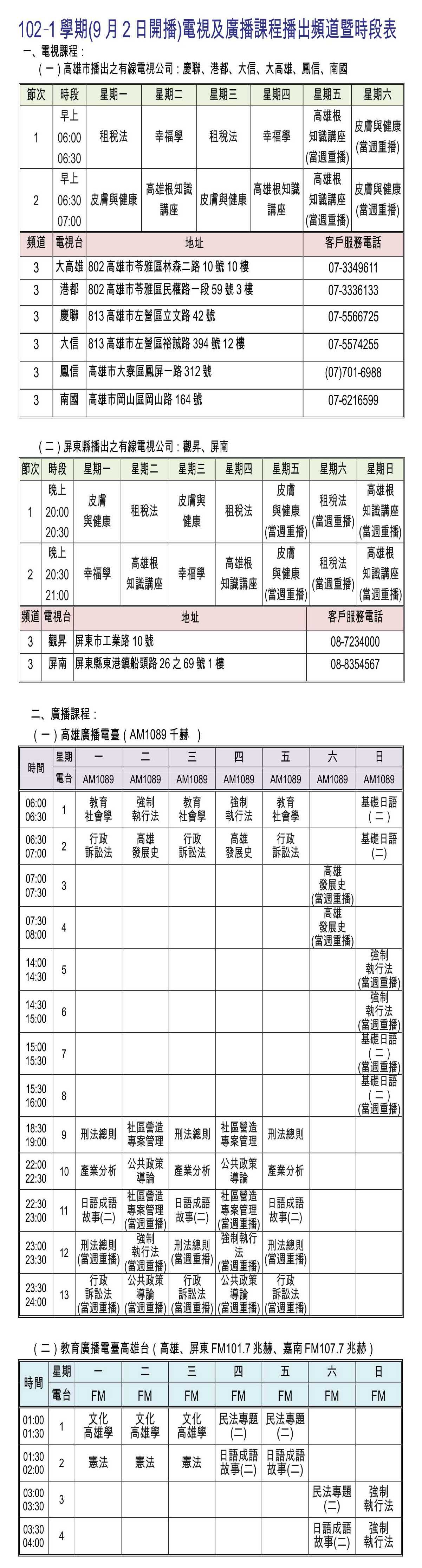 公告欄  102-1學期電視及廣播課程播出頻道暨時段表