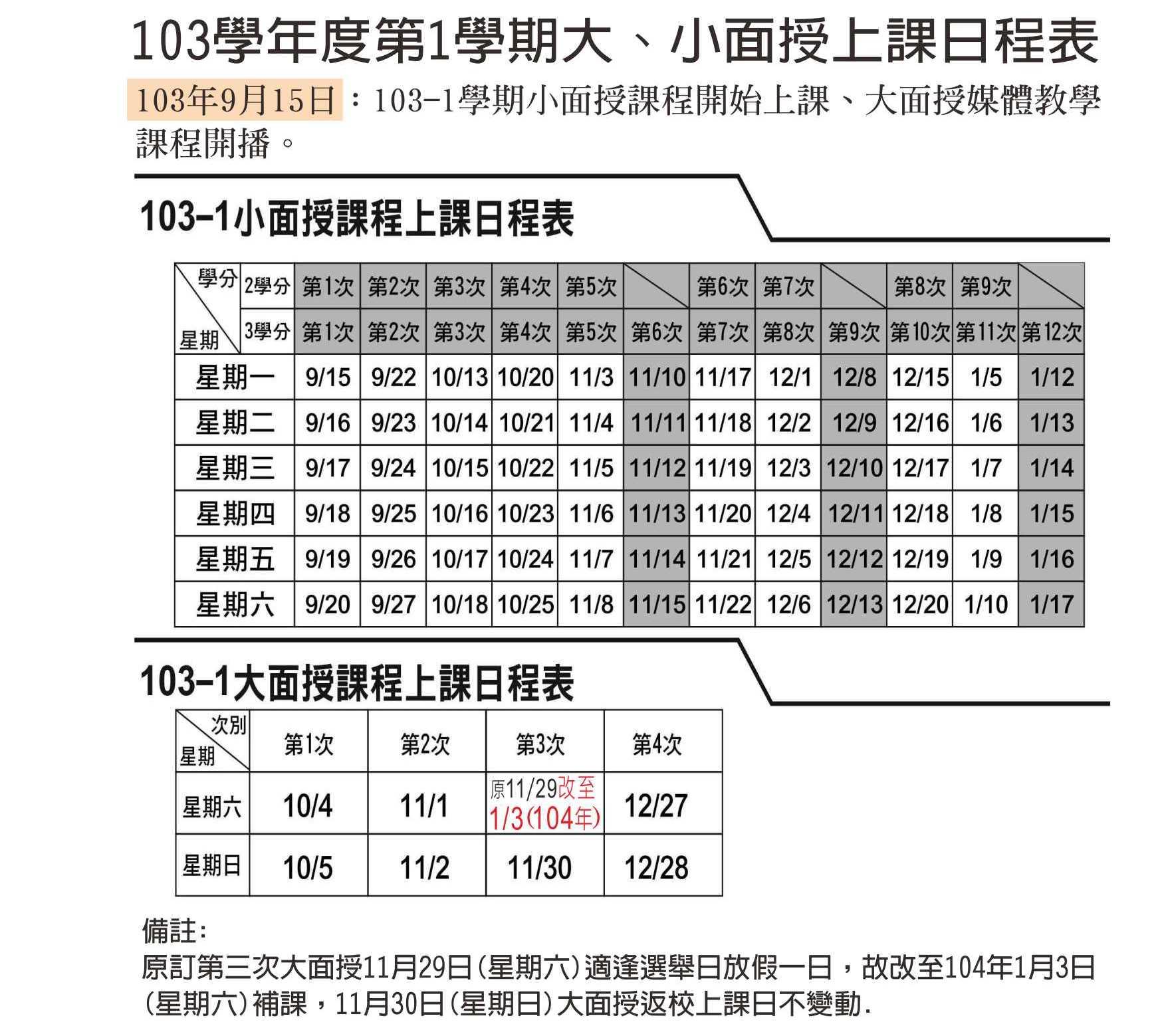 公告欄  103-1學期大小面授上課日程表更正